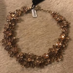 J.CREW TWO-TONE FLORAL NECKLACE GOLD CRYSTAL F3185